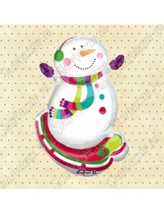 Фигура Снеговик на санках