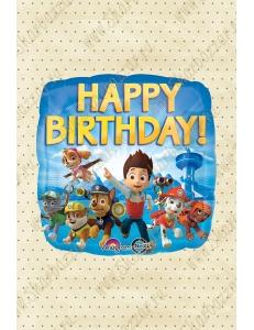 """Квадратный шар """"Щенячий патруль Happy Birthday"""""""